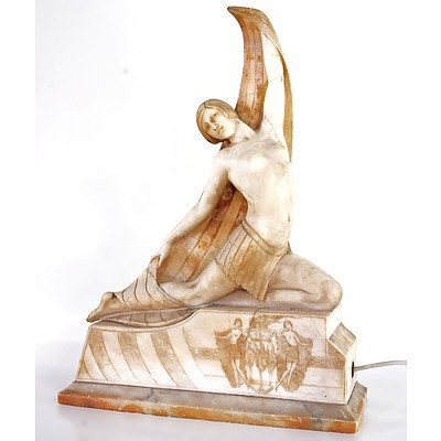 Large Italian Art Deco Egyptian Revival Alabaster Lamp Circa 1920s