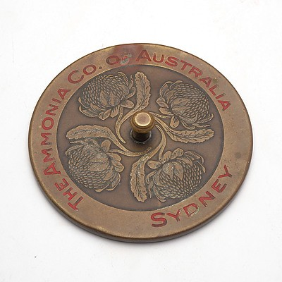 Brass Advertising Paperweight Cast with Waratahs, The Ammonia Co Australia, Sydney