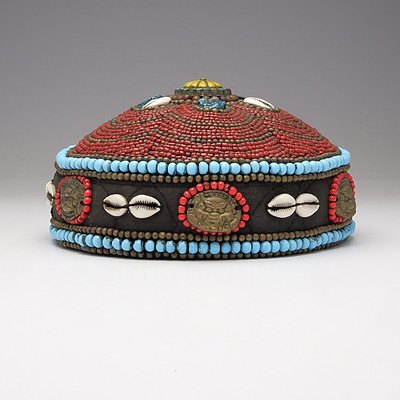 Tibetan Turquoise and Coral Beaded Priests Hat