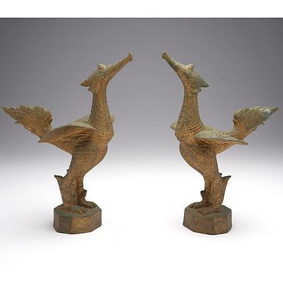 Pair of Thai Gilt Brass/Bronze Mythical Suppanahong Bird Figures