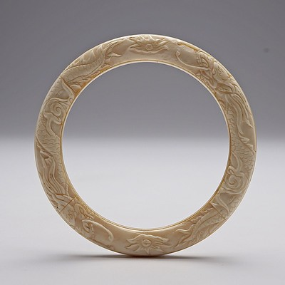 Antique Chinese Carved Ivory Dragon Bracelet