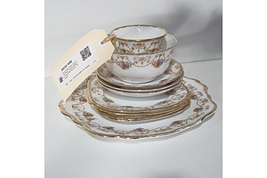 Royal Albert Crown China Cake Plate, Saucers & Plates, Sugar Bowl and Cup - 10 Pieces