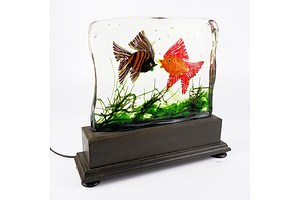 Alfredo Barbini (Italian 1912-2007) Large Glass Aquarium Block Sculpture with Luminaire Base for Cenedese Murano Circa 1960s