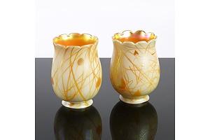 Pair of Art Nouveau Steuban Threaded Glass Lamp Shades