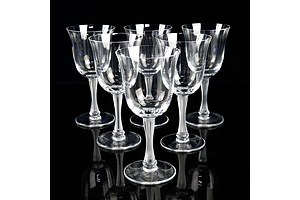 Lalique France Set of Six Crystal Goblets with Frosted Stems