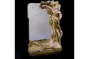Art Nouveau Royal Dux Figural Vanity Mirror, Early 20th Century