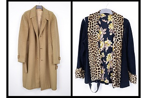 Vintage George Leung & Co Custom Made Women's Cashmere Coat and a Suede, Silk and Fur Jacket