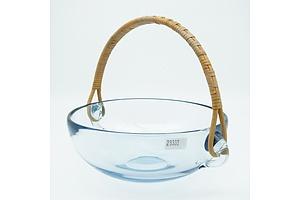 Vintage Holmegaard  Blue Studio Glass Bowl with Cane Handle - Designed by Per Lutken 1962 - Signed to Base