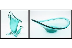Vintage Green Murano Glass Bowl and a Hand Blown Cornucopia Vase