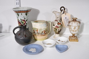 Various Porcelain Vases, Jugs and Dishes including Delft, Wedgwood and Royal Doulton