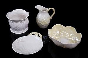 Vintage Belleek Sugar Bowl, Small Jug, Shell Dish and Scalloped Edge Bowl (4)