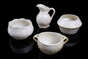 Three Vintage Belleek Sugar Bowls and a  Small Jug (4)