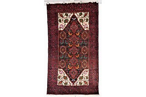 Vintage Persian Baluchi Hand Knotted Wool Rug