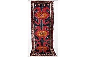 Vintage Persian Caucasian Hand Knotted Kurdish Hartushi Wool Runner