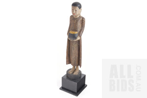 South East Asian Painted Hardwood Deity on Stand