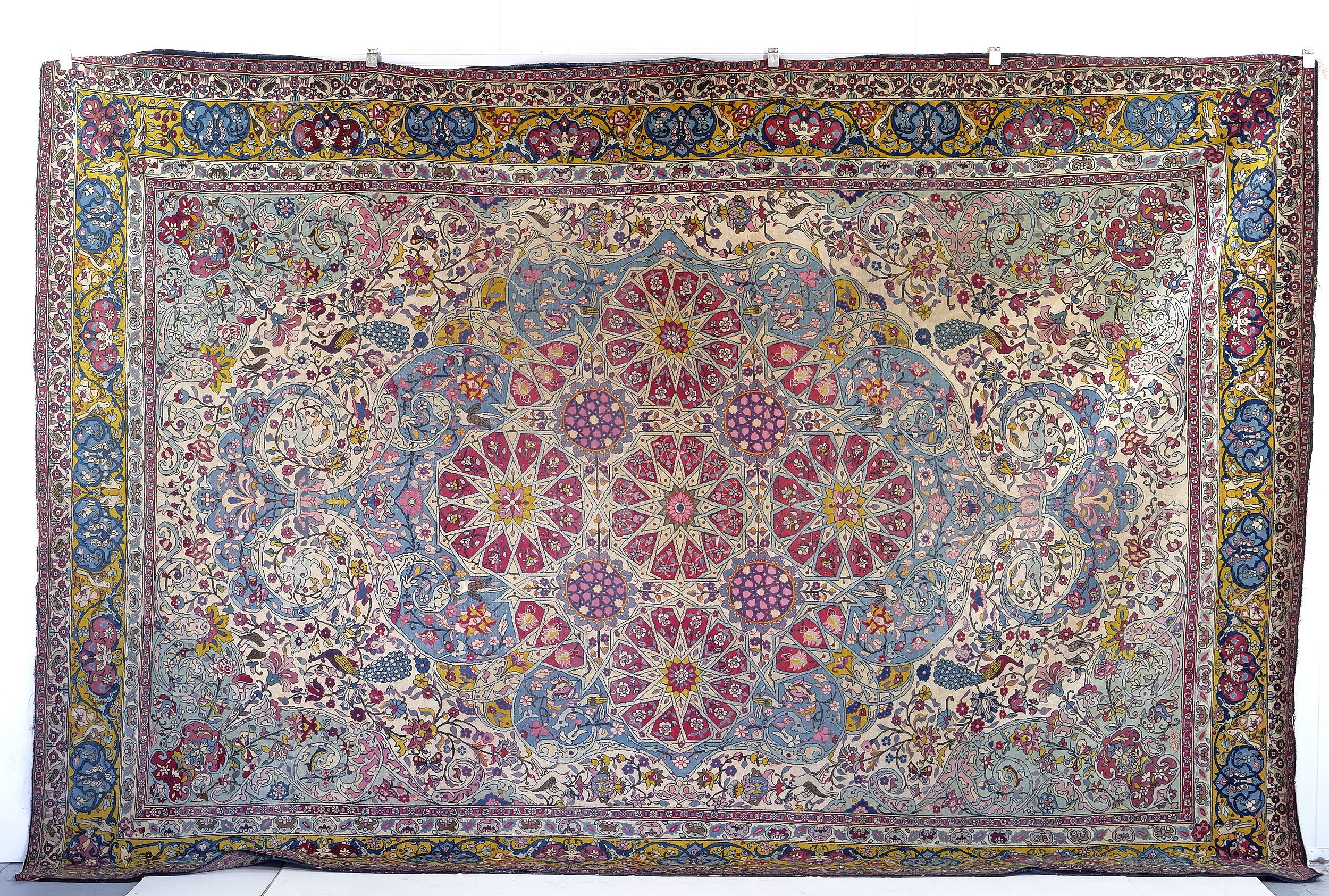 'Magnificent Large Antique Persian Lavar-Kerman Garden of Paradise Hand Knotted Wool Pile Carpet with Central Arabesques Circa 1900'
