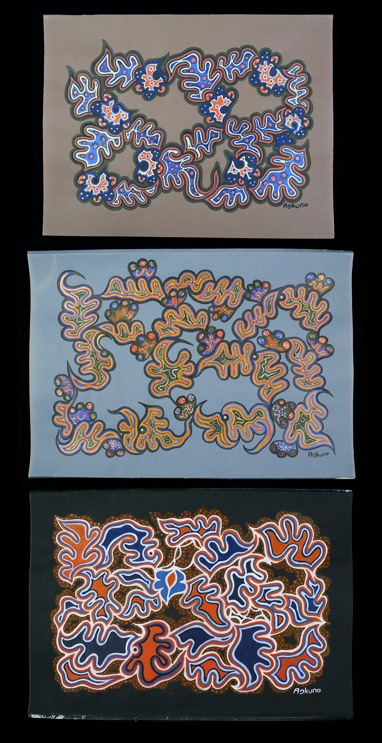 'Adkuna (working late 1960s, Pitjantjatjara language group), Three Untitled Works, Gouache on Paper (3)'