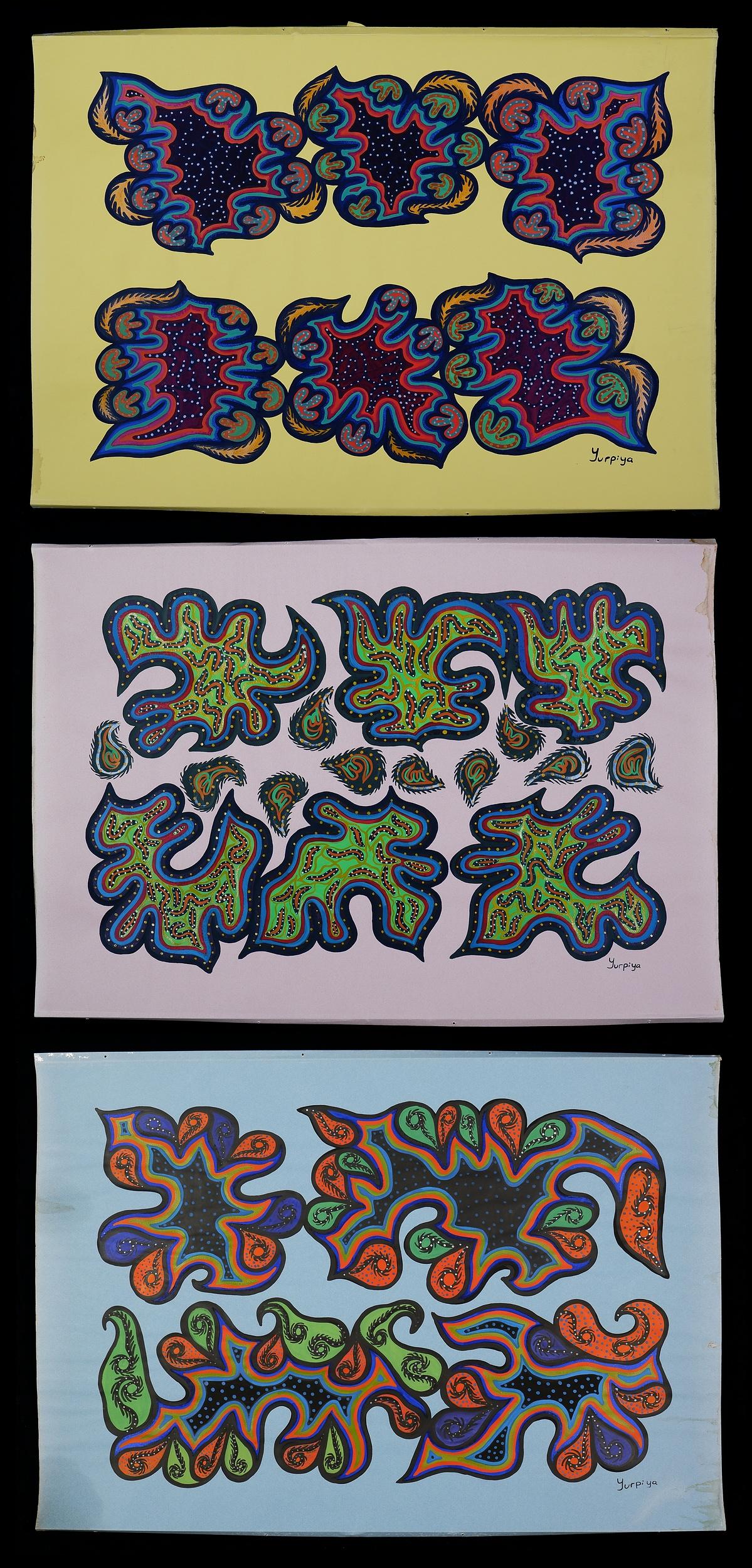 'Yurpiya Lionel (born 1960, Pitjantjatjara language group), Three Untitled Works, Gouache on Paper (3)'