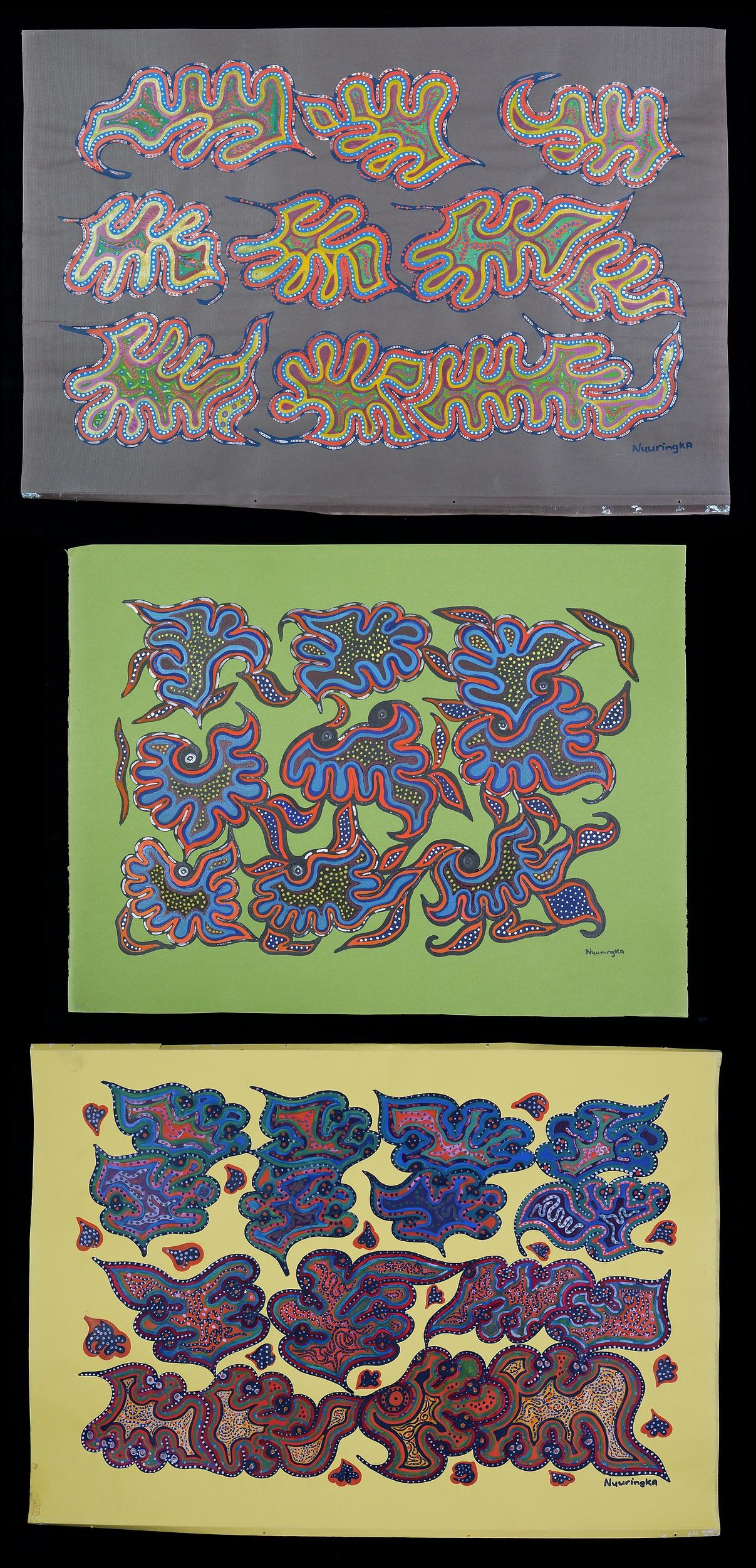 'Nyuringka (working late 1960s, Pitjantjatjara language group), Three Untitled Works, Gouache on Paper (3)'