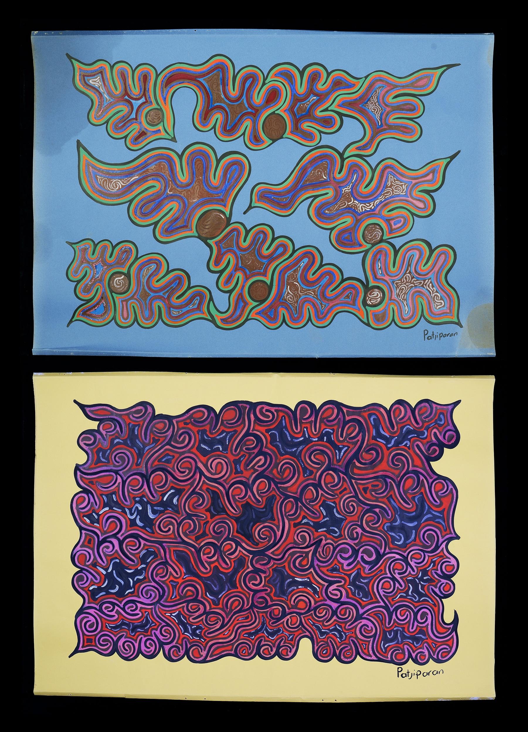 'Patjiparan Daisy Wikilyiri (c1935-1985, Pitjantjatjara language group), Two Untitled Works, Gouache on Paper (2)'