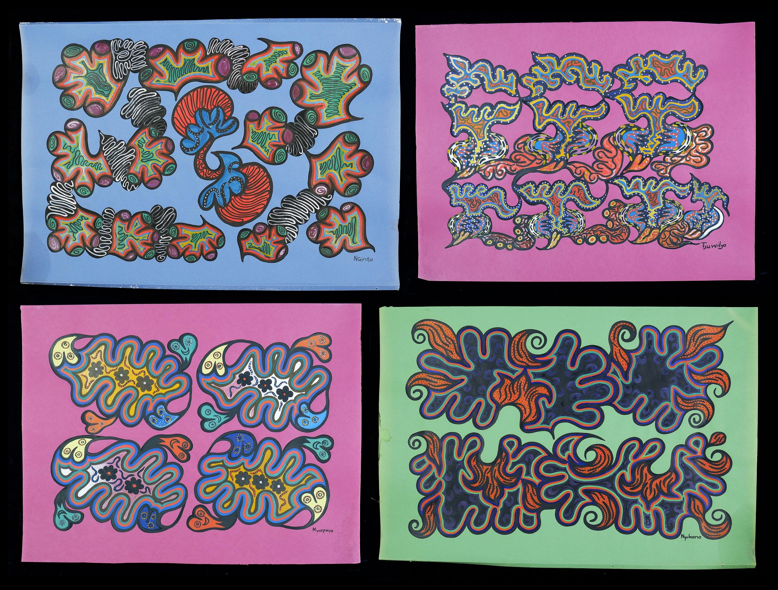 'Four Untitled Works by Nyurpaya Kaika-Burton; Tjuwilya Windlass; Ngintja; Kunmanara (Nyukana) Baker, Gouache on Paper (4)'