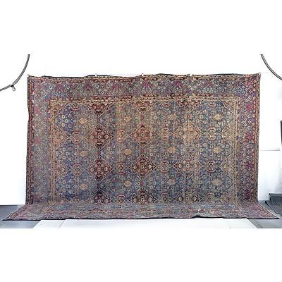 Room Size Antique Persian Lavar-Kerman Hand Knotted Wool Pile Carpet Circa 1900