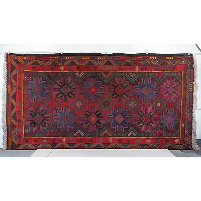 Very Large Caucasian Kazak Hand Knotted Wool Pile Carpet with Inscription Dated 1968