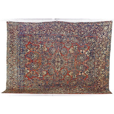 Antique Persian Sarouk Hand Knotted Wool Pile Carpet