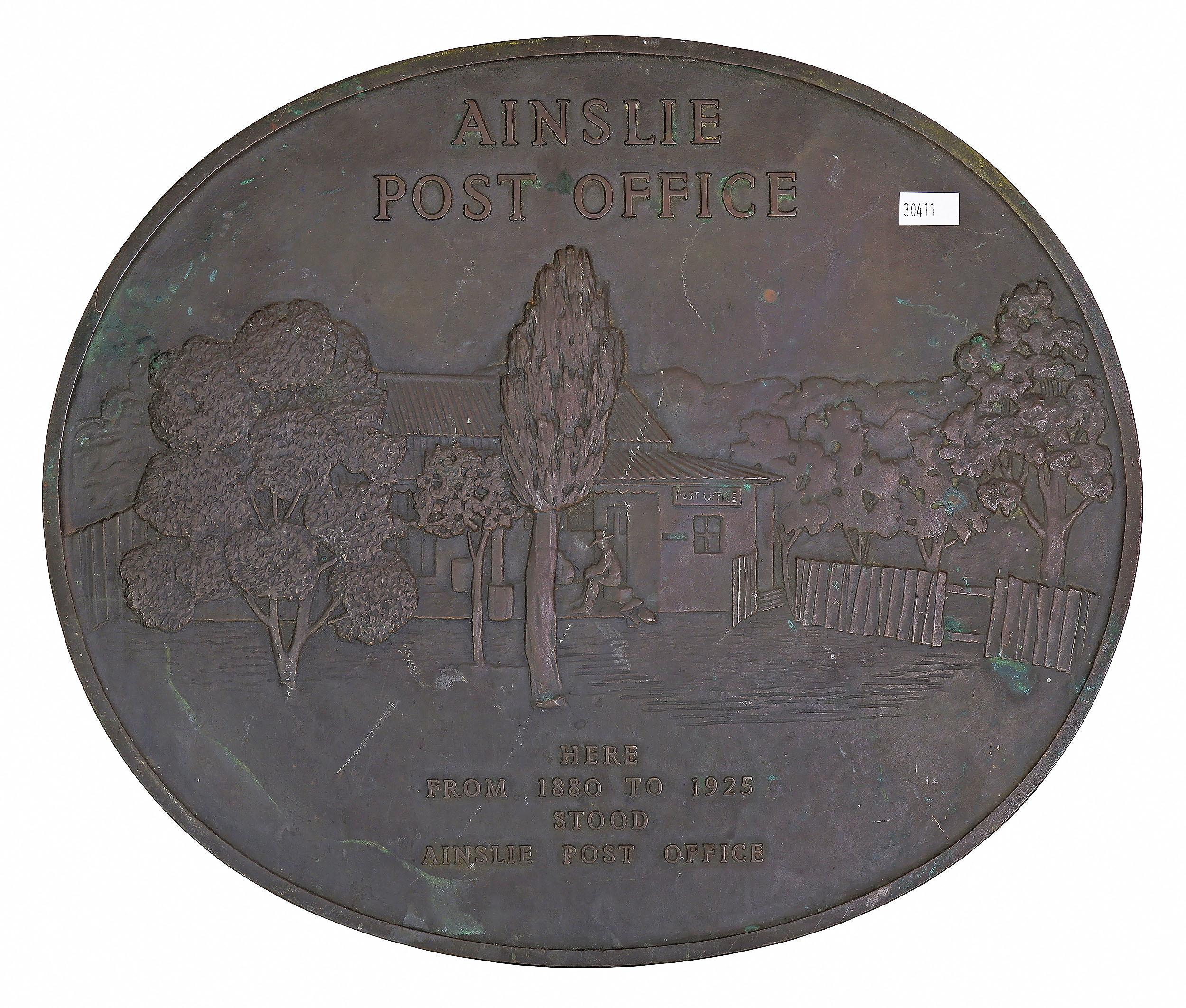 'Relief Cast Bronze Plaque Commemerating the Location of the Ainslie Post Office'