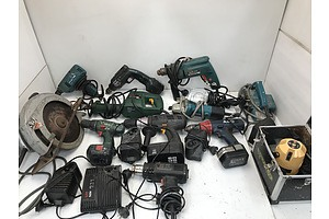 Large Lot Of Assorted Power Tools Including Makita and Bosch