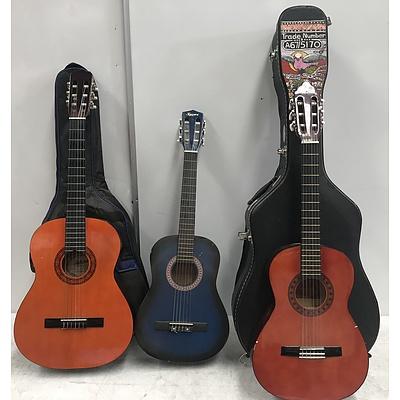 Three Acoustic Guitars Including Ashton and Valencia