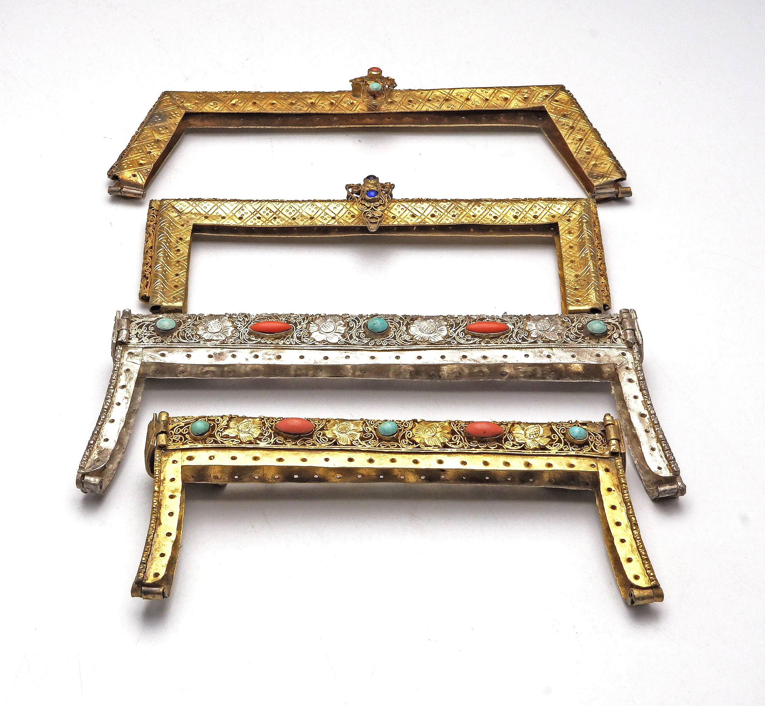 'Four Antique North Indian or Tibetan Silver and Silver Gilt Purse Clasps with Semi Precious Inlays Including Turquoise and Coral'