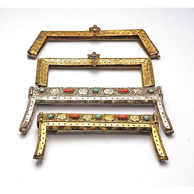 Four Antique North Indian or Tibetan Silver and Silver Gilt Purse Clasps with Semi Precious Inlays Including Turquoise and Coral