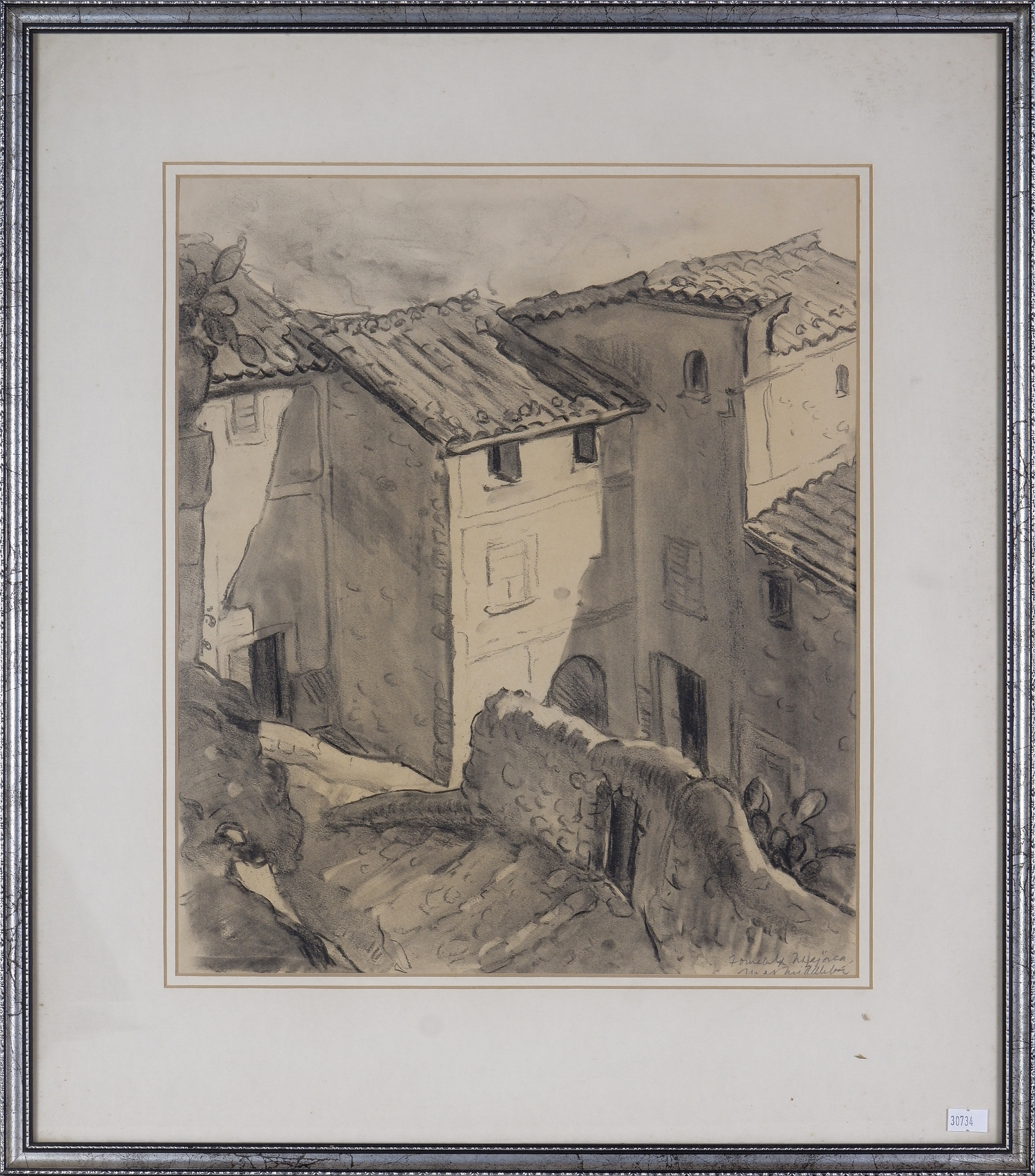 'Max Middleton (1922-2013), Majorca, Charcoal on Paper'