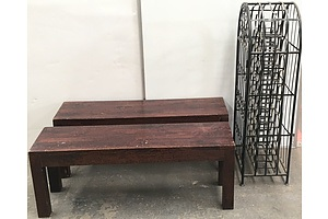 Solid Timber Benches And Metal Wine Rack - Lot Of Three