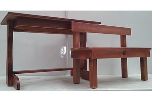 Child Size Wooden Bench And Desk