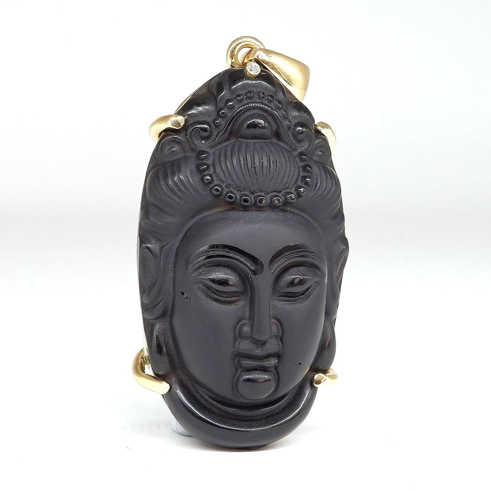 'Chinese 18ct Yellow Gold Carved Onyx Guanyin Pendant with One Round Brilliant Cut Diamond'