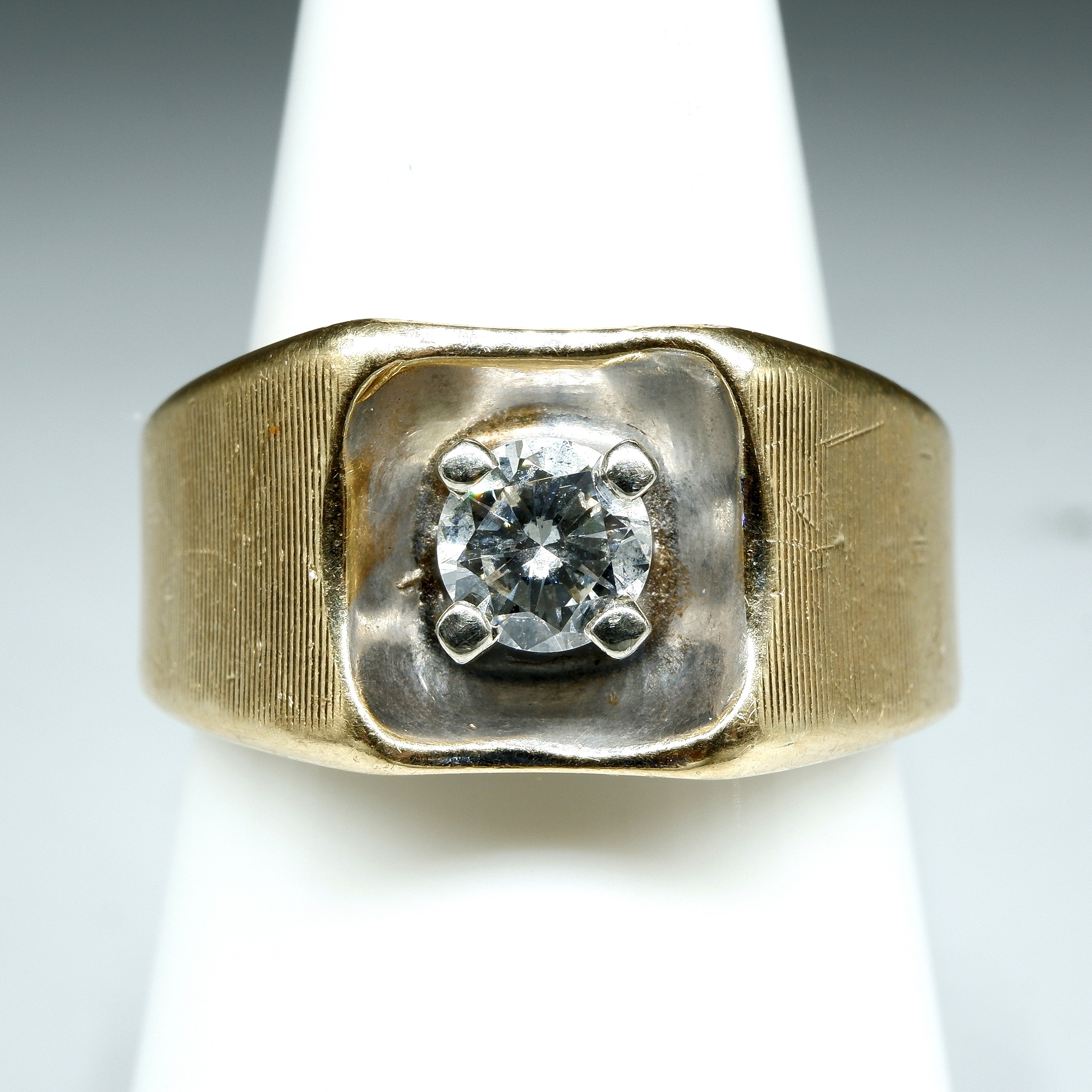 '14ct Yellow Gold Ring with Round Brilliant Cut Diamond 0.40ct (I/J SI2), 10.6g'