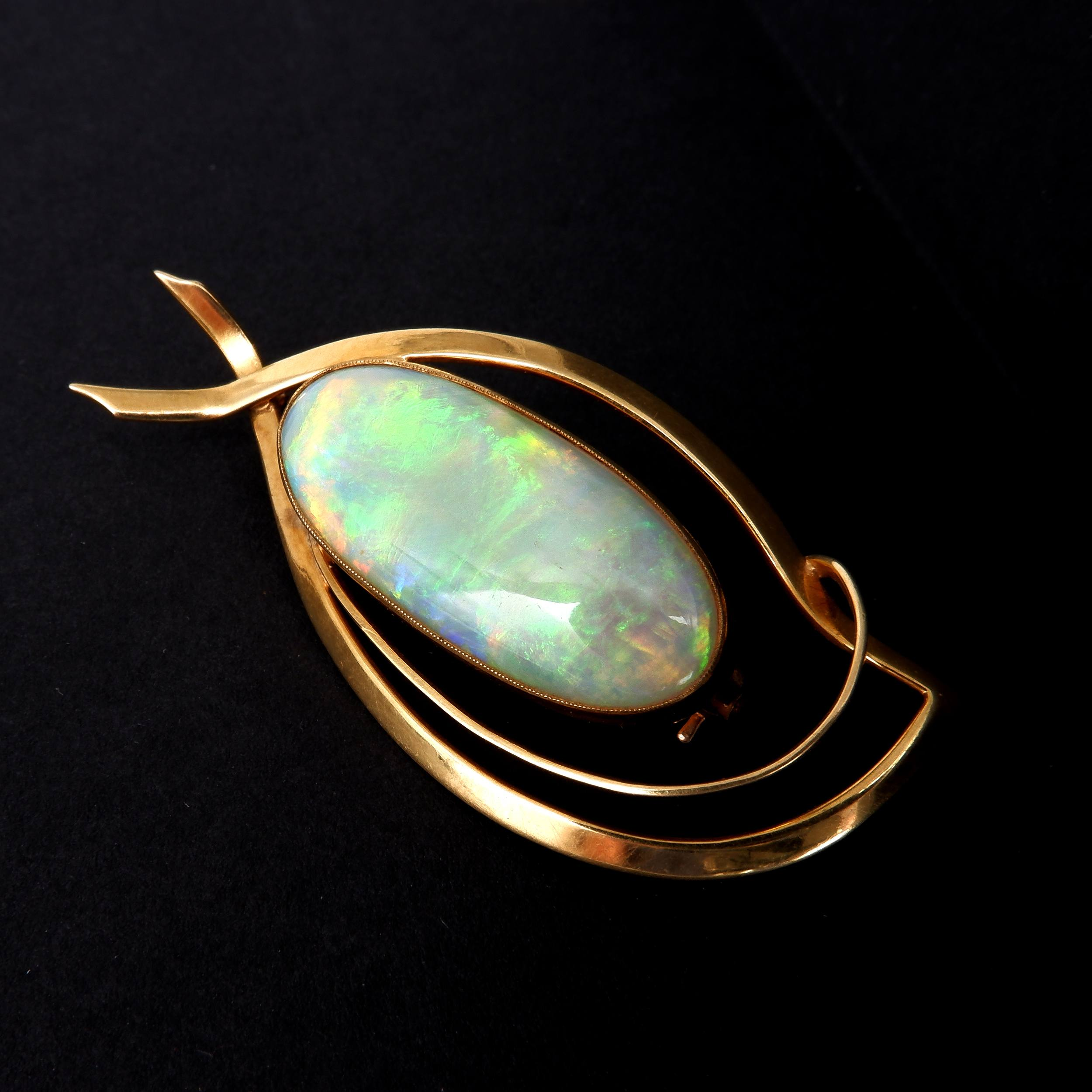 '18ct Yellow Gold Brooch With 10.00ct Solid Opal Cabochon'