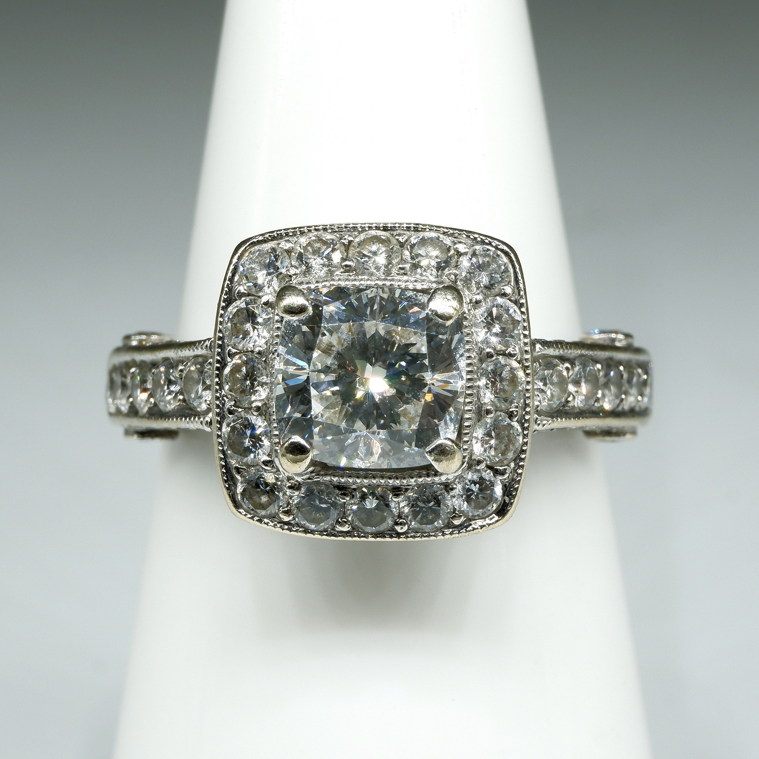 '18ct White Gold Diamond Ring, with at Centre Cushion Cut Diamond 1.10ct (F/G SI2), 5.8g'