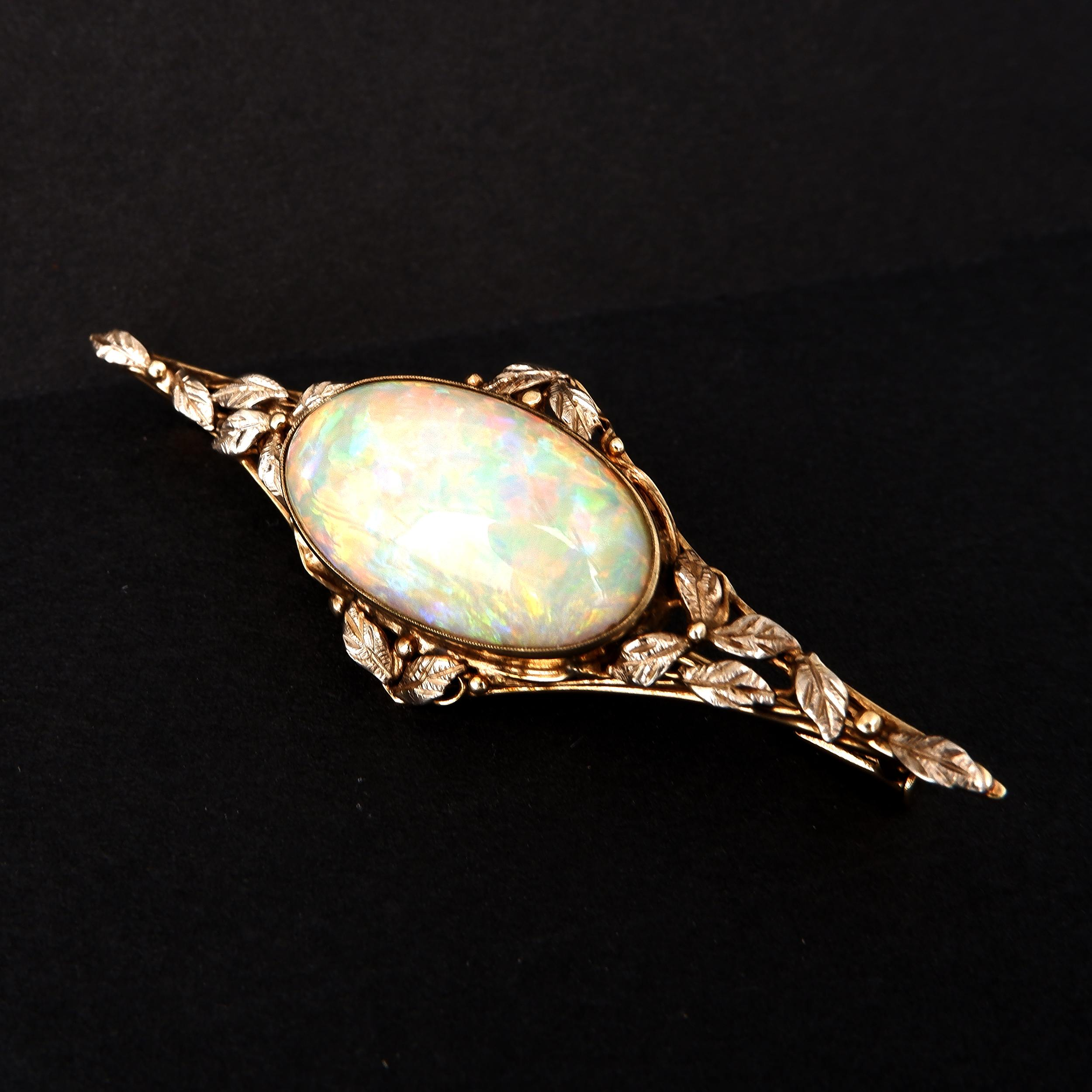 'Antique 18ct Yellow and White Gold Brooch With Sold Cabochon of Opal with Green, Blue and Orange Flash, 8.50ct'