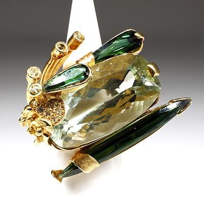 Fantastic 18ct Yellow Gold Tourmaline and Diamond Ring, 28.5g