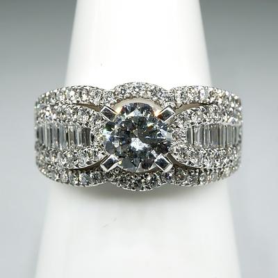 14ct White Gold Diamond Ring, with at Centre Modern Brilliant Cut Diamond 0.75ct (G/H VS2), 6.9g