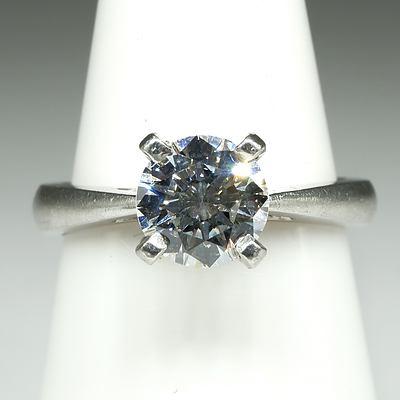 Platinum Ring with Round Modern Cut Diamond 1.02ct (F/G VS2), 5.5g