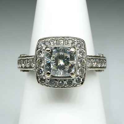 18ct White Gold Diamond Ring, with at Centre Cushion Cut Diamond 1.10ct (F/G SI2), 5.8g