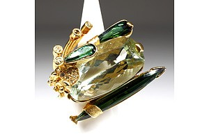 Fantastic 18ct Yellow Gold Tourmaline and Diamond Ring, 28.5g