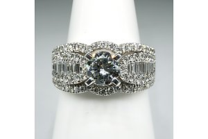 14ct White Gold Diamond Ring, with at Centre Modern Brilliant Cut Diamond 0.75ct (G/H VS2), 6.9g