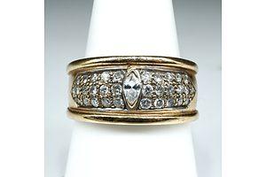 14ct Yellow Gold and Diamond Ring, 8.5g
