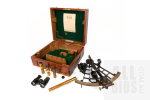 Good Antique Henry Hughes & Sons of London Sextant in Original Mahogany Box