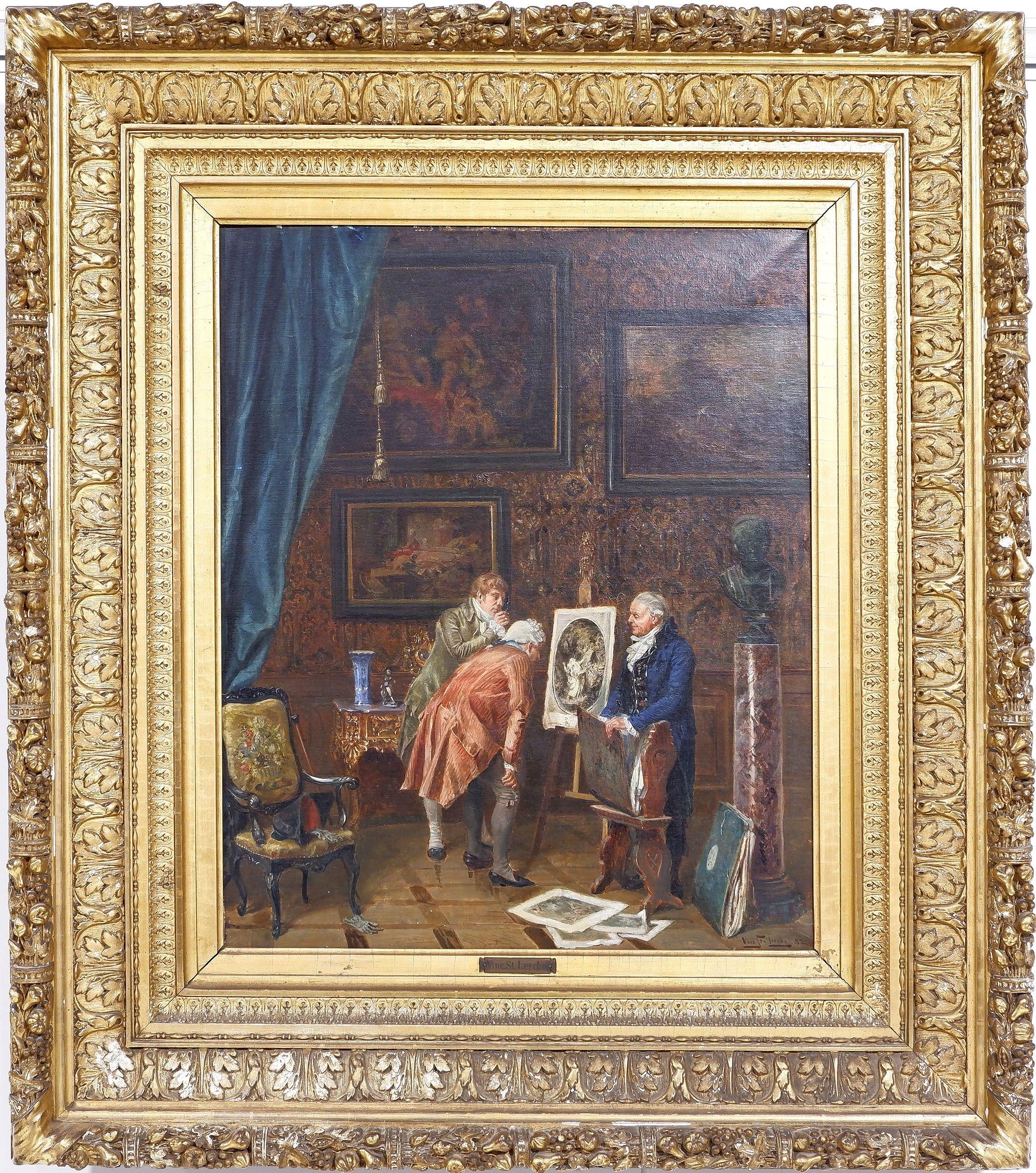 'Vincent Stoltenberg Lerche (Norwegian 1837-1892) The Experts Oil on Canvas'